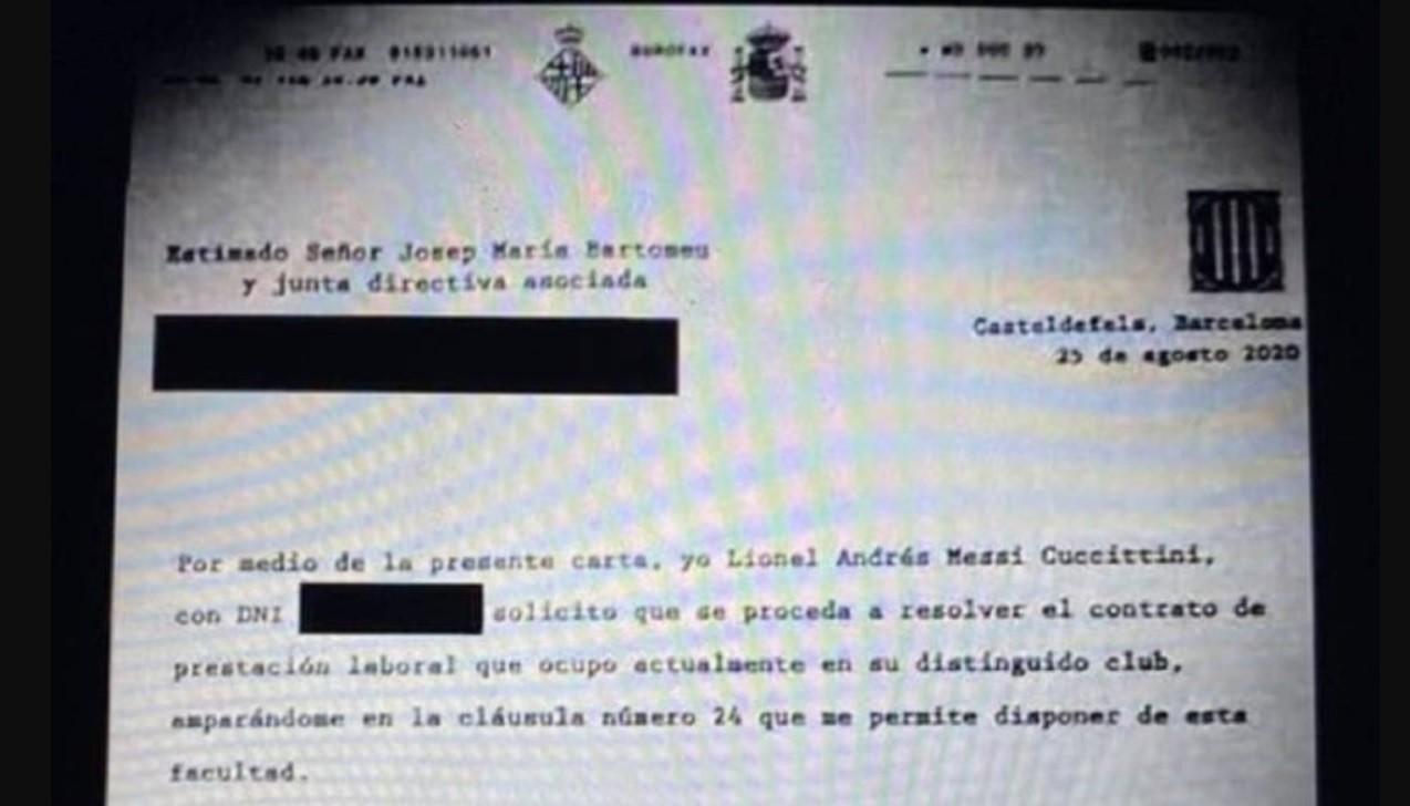 Inter, il fax di addio di Messi al Barcellona |  Sport e Vai