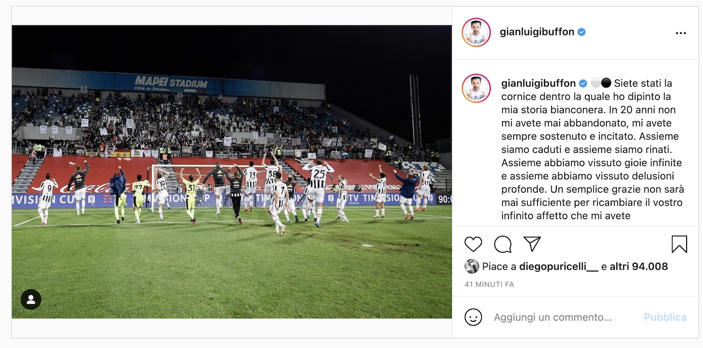 Buffon: l'addio alla Juve arriva via social |  Sport e Vai
