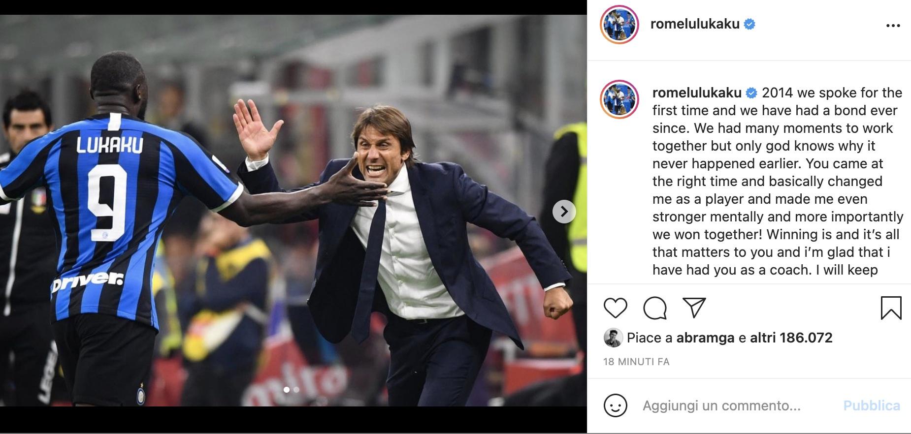 Lukaku saluta Conte: il messaggio sui social |  Sport e Vai