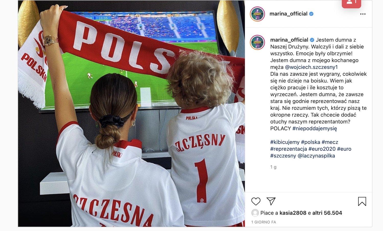 Szczesny: la moglie lo difende sui social |  Sport e Vai