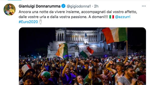 Finale Euro 2020, i tweet degli Azzurri durante l'ultima notte |  Sport e Vai